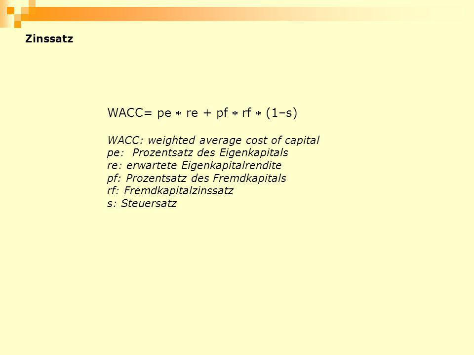 WACC= pe  re + pf  rf  (1–s)