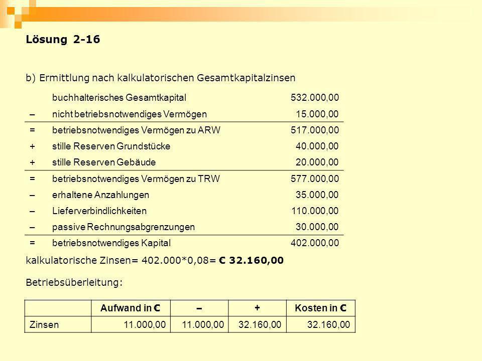 Lösung 2-16 b) Ermittlung nach kalkulatorischen Gesamtkapitalzinsen