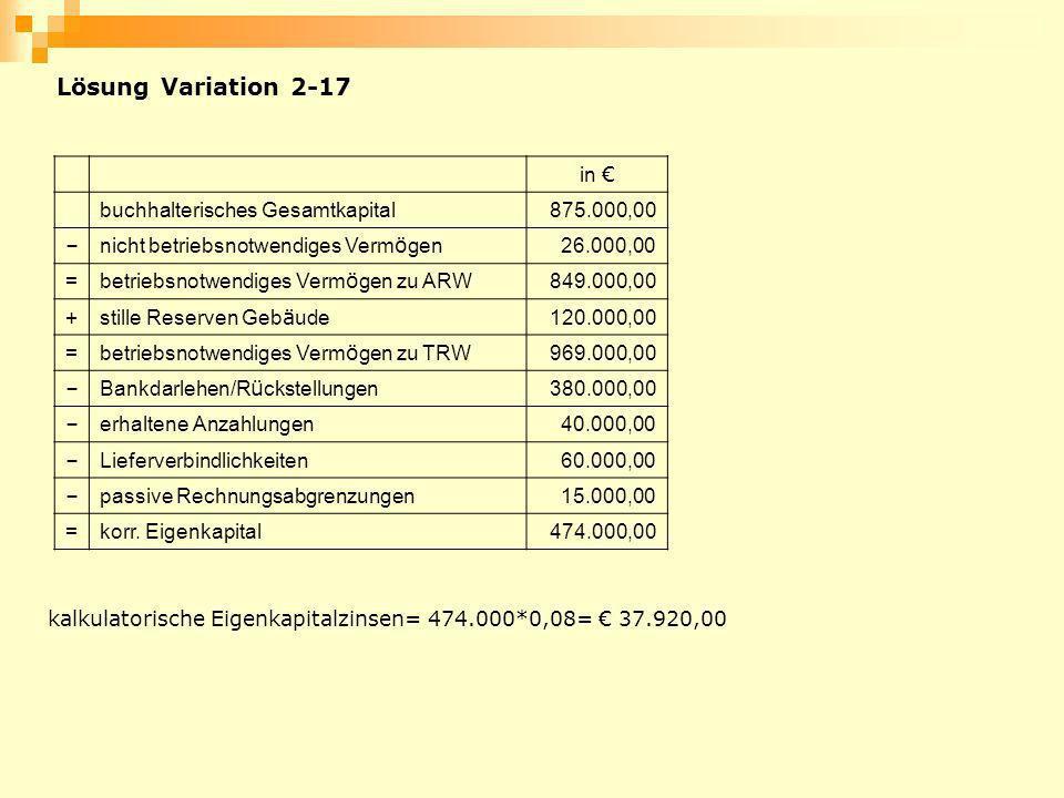 Lösung Variation 2-17 in € buchhalterisches Gesamtkapital 875.000,00 –