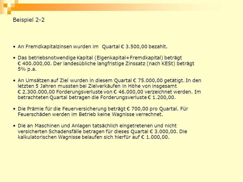 Beispiel 2-2 An Fremdkapitalzinsen wurden im Quartal € 3.500,00 bezahlt.