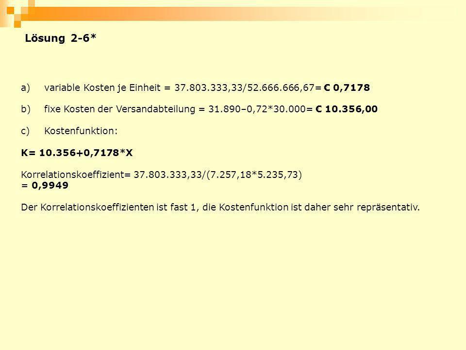 Lösung 2-6* variable Kosten je Einheit = 37.803.333,33/52.666.666,67= € 0,7178. fixe Kosten der Versandabteilung = 31.890–0,72*30.000= € 10.356,00.