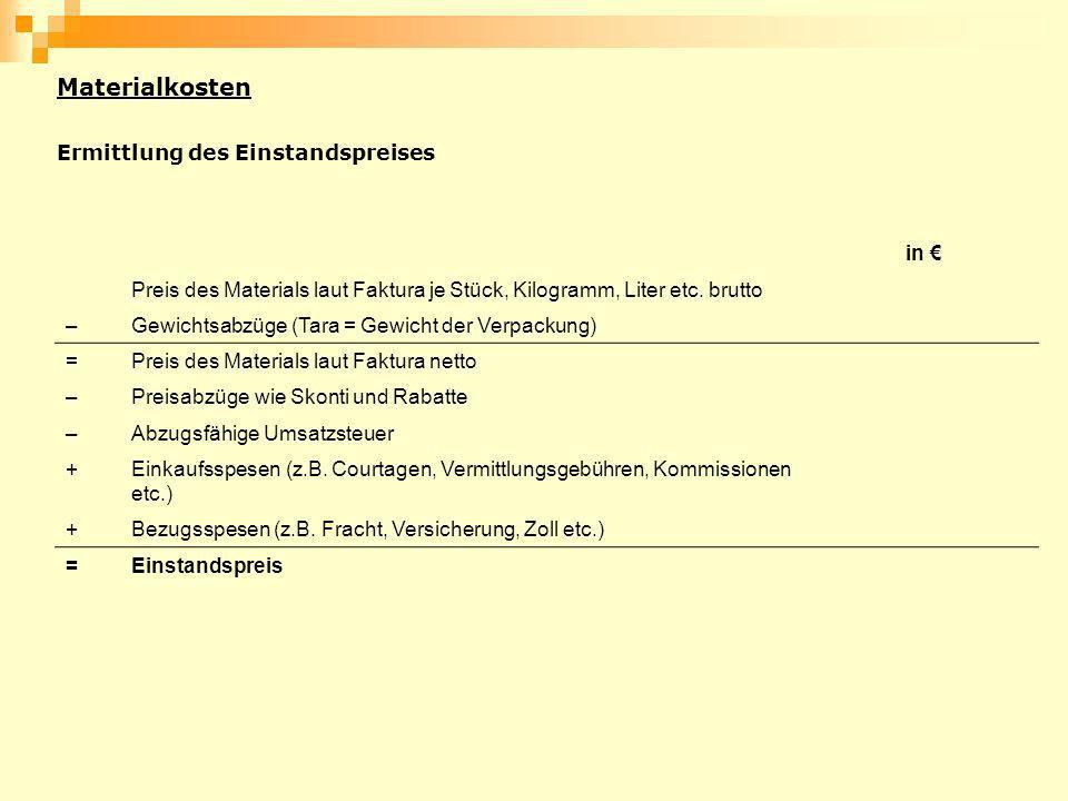 Materialkosten Ermittlung des Einstandspreises in €