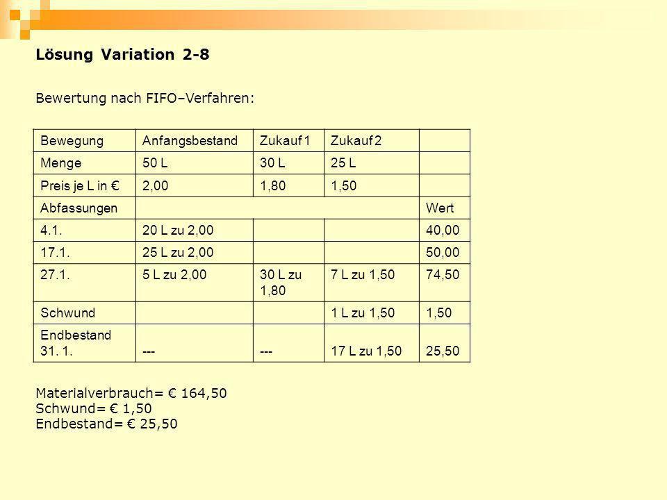 Lösung Variation 2-8 Bewertung nach FIFO–Verfahren: Bewegung