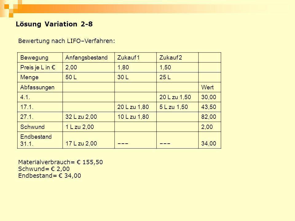 Lösung Variation 2-8 Bewertung nach LIFO–Verfahren: Bewegung