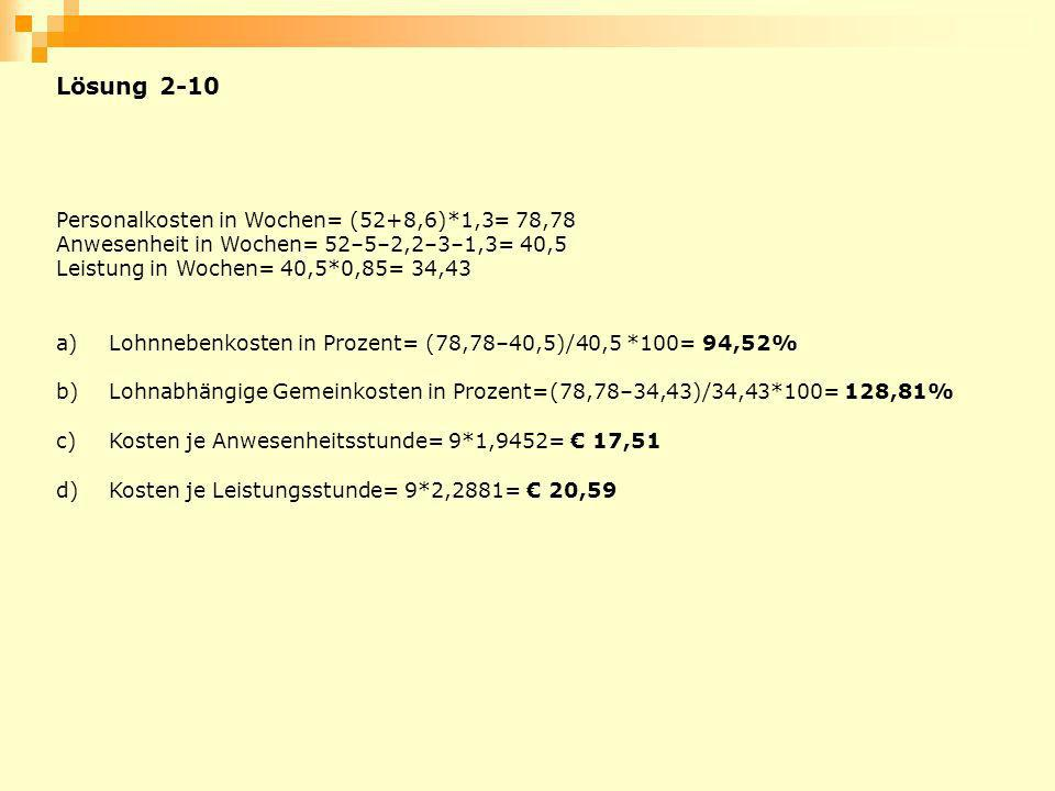 Lösung 2-10 Personalkosten in Wochen= (52+8,6)*1,3= 78,78