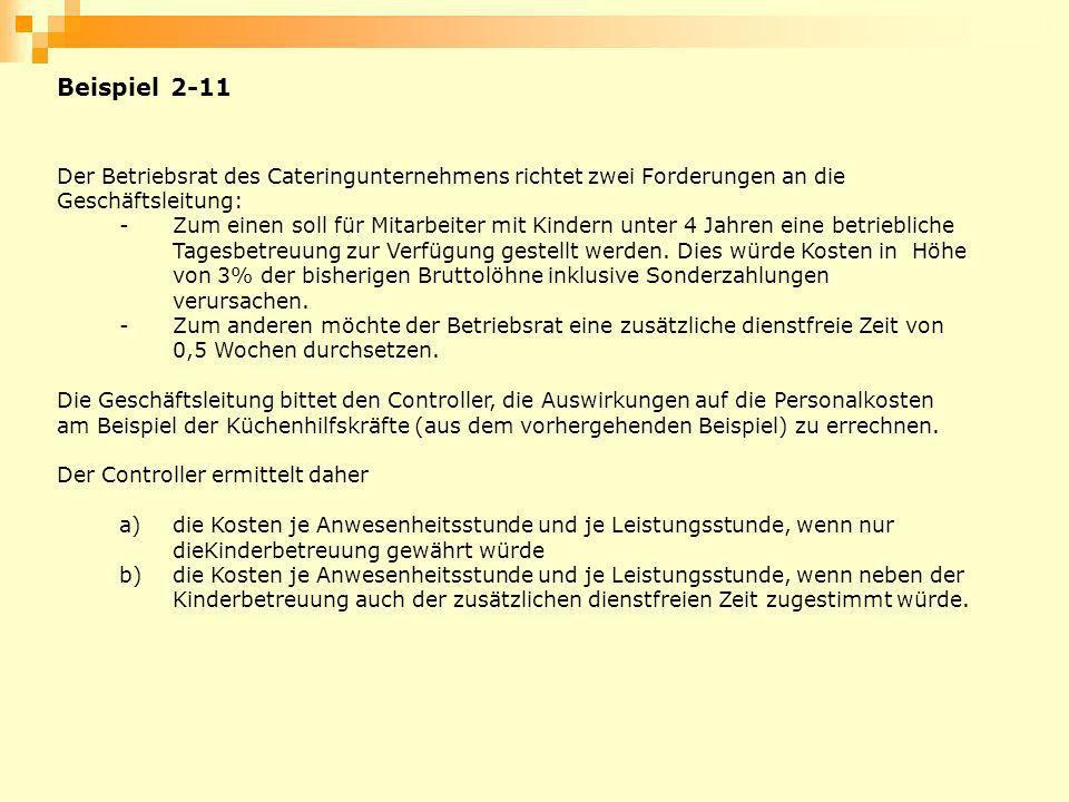 Beispiel 2-11 Der Betriebsrat des Cateringunternehmens richtet zwei Forderungen an die Geschäftsleitung: