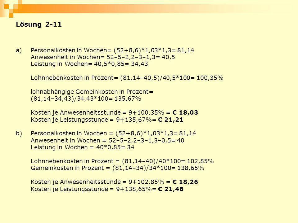 Lösung 2-11 a) Personalkosten in Wochen= (52+8,6)*1,03*1,3= 81,14