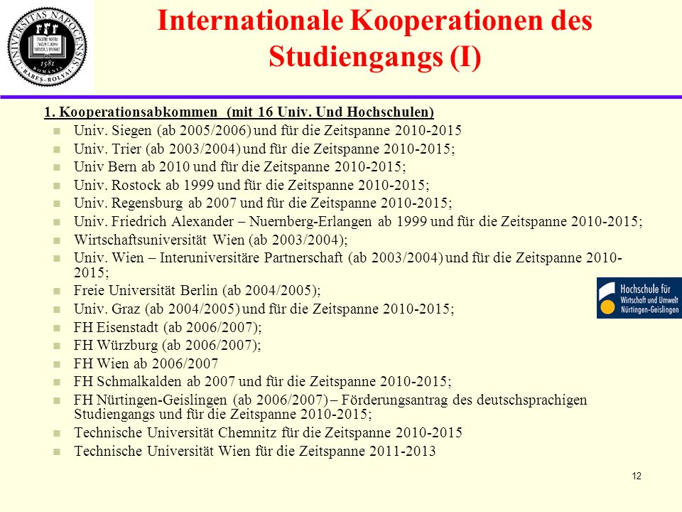 Internationale Kooperationen des Studiengangs (I)