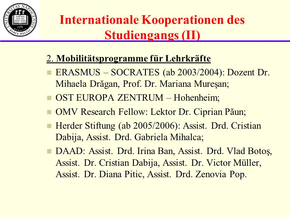 Internationale Kooperationen des Studiengangs (II)