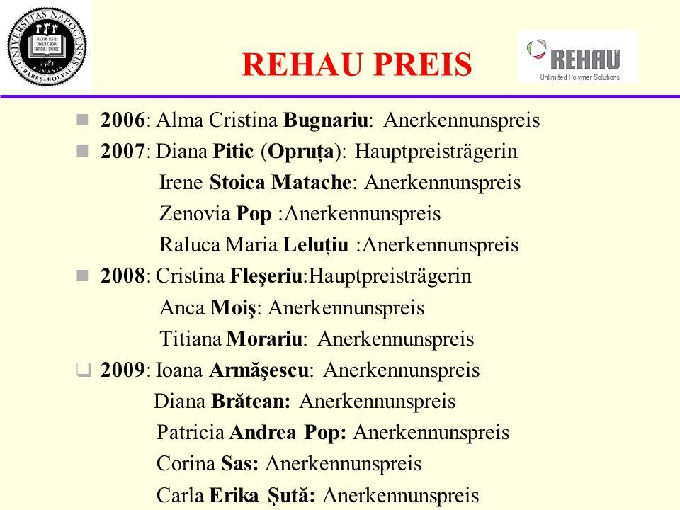 REHAU PREIS 2006: Alma Cristina Bugnariu: Anerkennunspreis