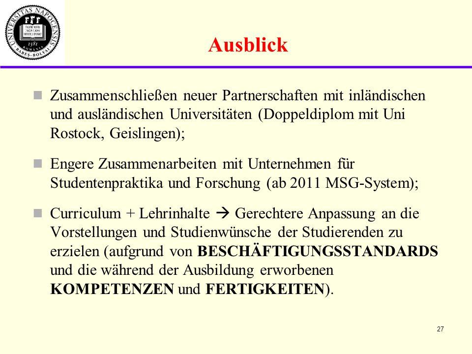 Ausblick Zusammenschließen neuer Partnerschaften mit inländischen und ausländischen Universitäten (Doppeldiplom mit Uni Rostock, Geislingen);