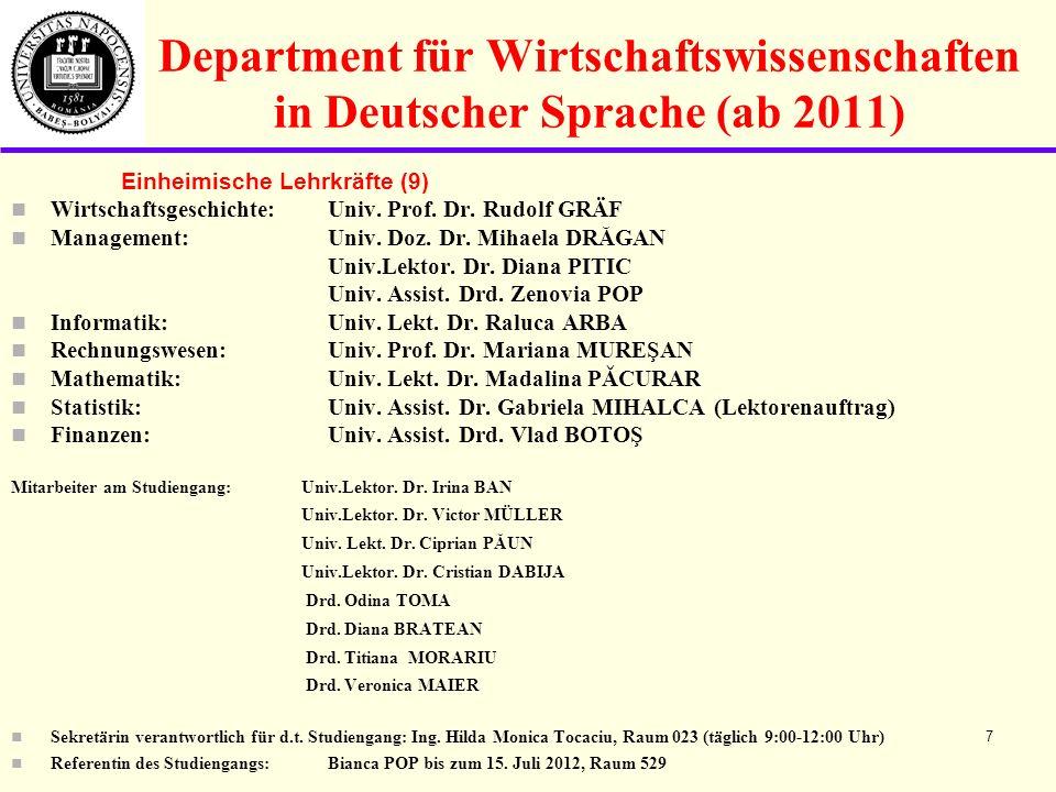Department für Wirtschaftswissenschaften in Deutscher Sprache (ab 2011)