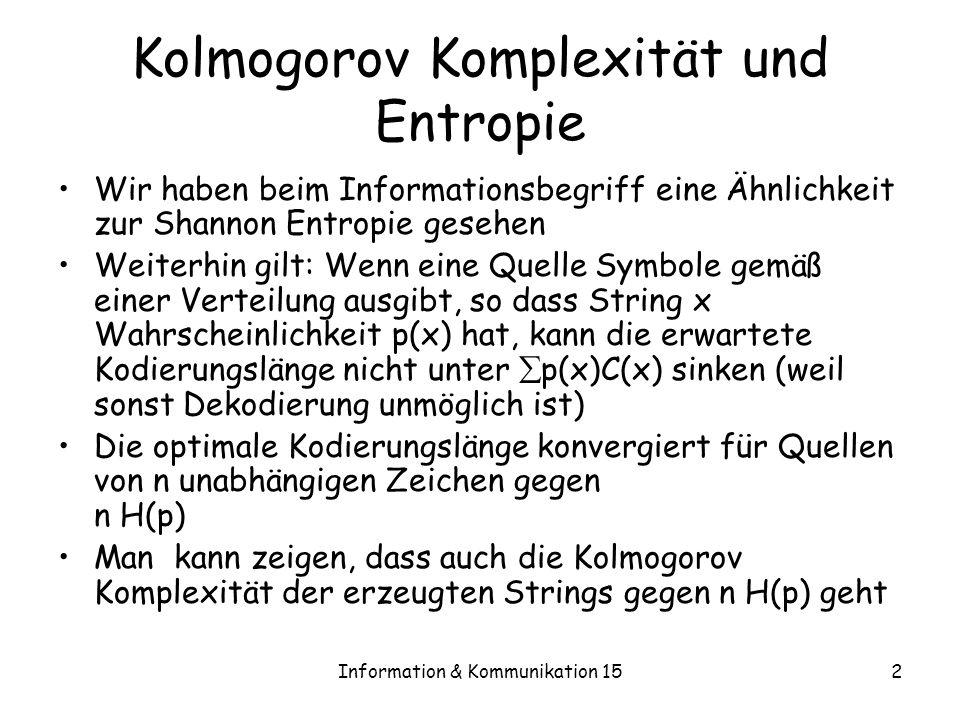 Kolmogorov Komplexität und Entropie