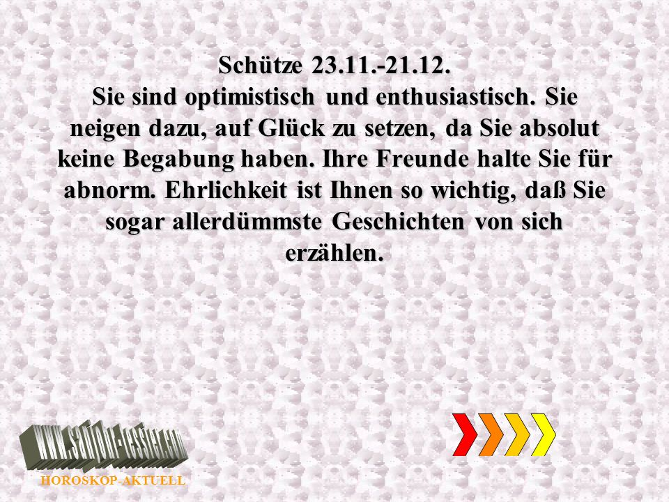 Schütze 23. 11. -21. 12. Sie sind optimistisch und enthusiastisch