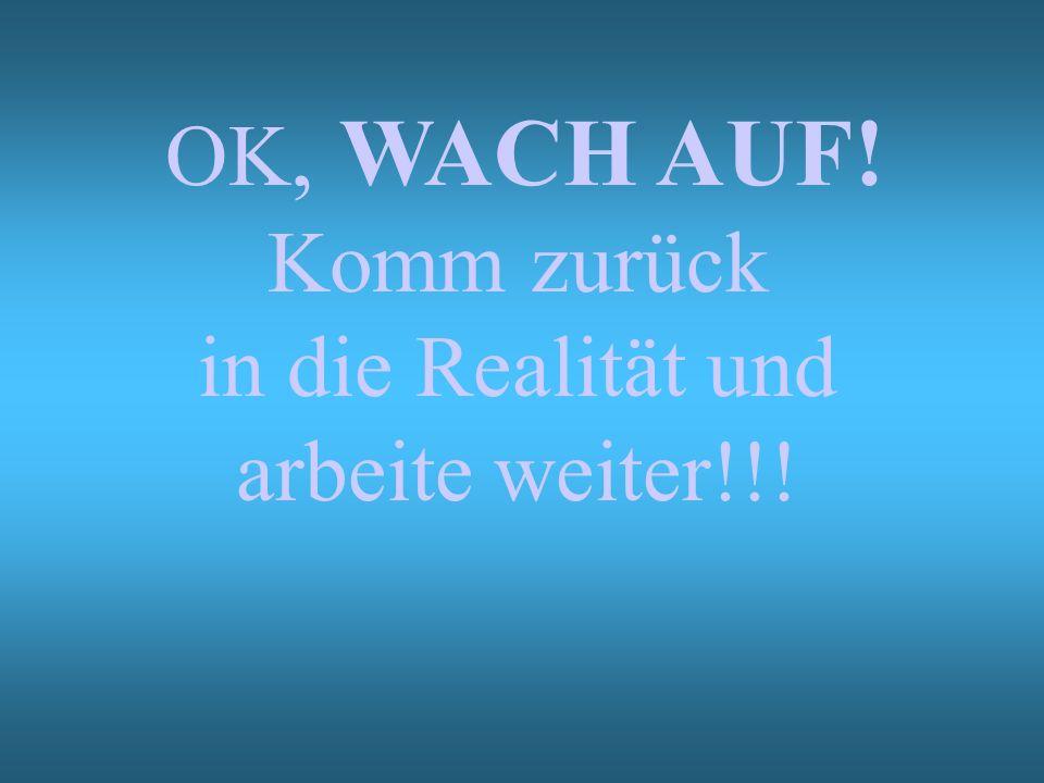 OK, WACH AUF! Komm zurück in die Realität und arbeite weiter!!!