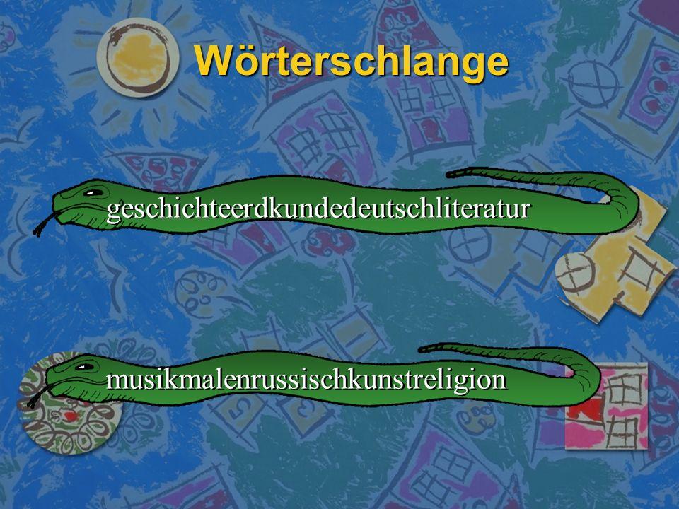 Wörterschlange geschichteerdkundedeutschliteratur
