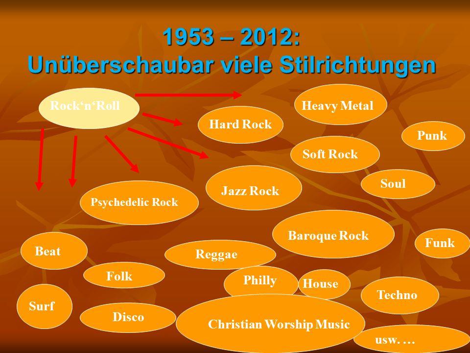 1953 – 2012: Unüberschaubar viele Stilrichtungen