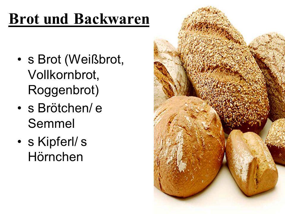 Brot und Backwaren s Brot (Weißbrot, Vollkornbrot, Roggenbrot)