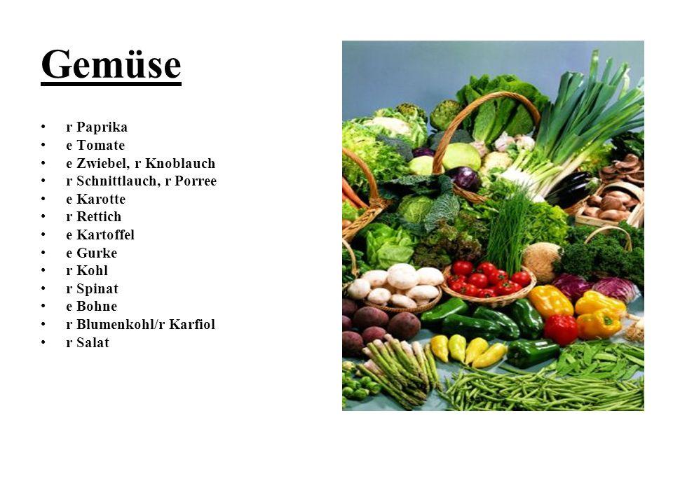 Gemüse r Paprika e Tomate e Zwiebel, r Knoblauch