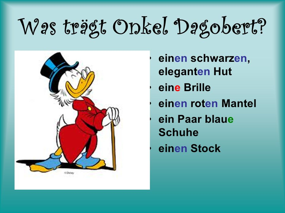 Was trägt Onkel Dagobert