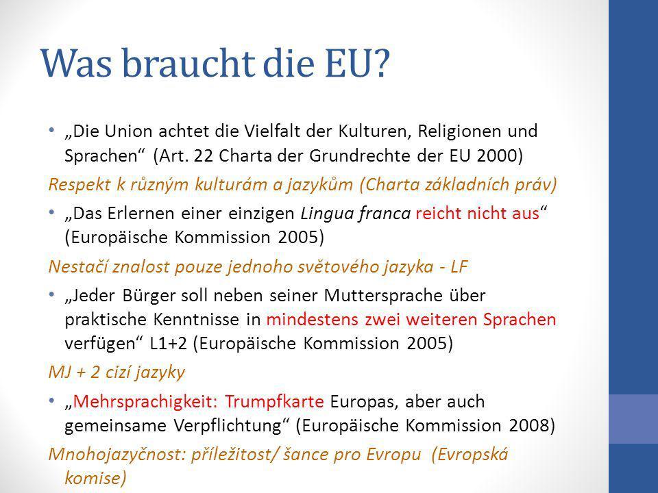 """Was braucht die EU """"Die Union achtet die Vielfalt der Kulturen, Religionen und Sprachen (Art. 22 Charta der Grundrechte der EU 2000)"""