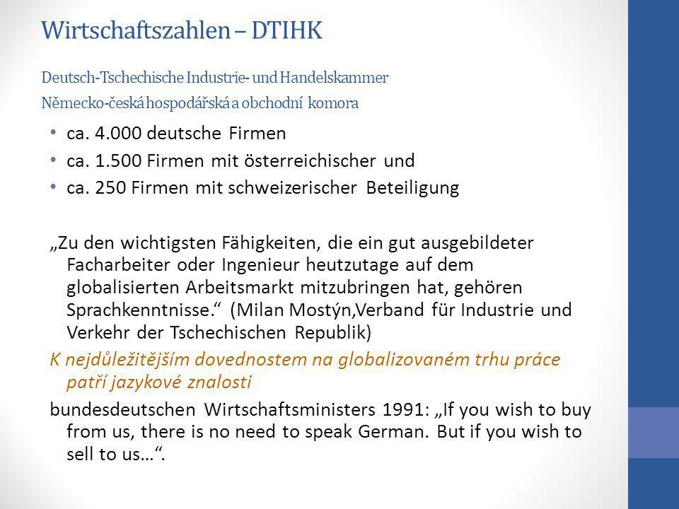 Wirtschaftszahlen – DTIHK Deutsch-Tschechische Industrie- und Handelskammer Německo-česká hospodářská a obchodní komora
