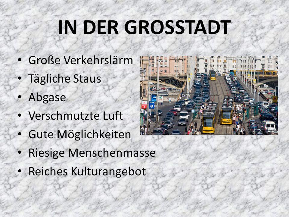 IN DER GROSSTADT Große Verkehrslärm Tägliche Staus Abgase