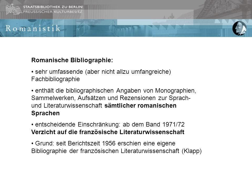Romanische Bibliographie: