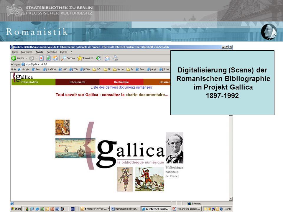 Digitalisierung (Scans) der Romanischen Bibliographie