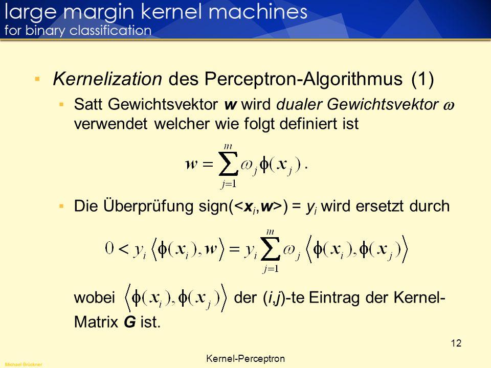 Kernelization des Perceptron-Algorithmus (1)