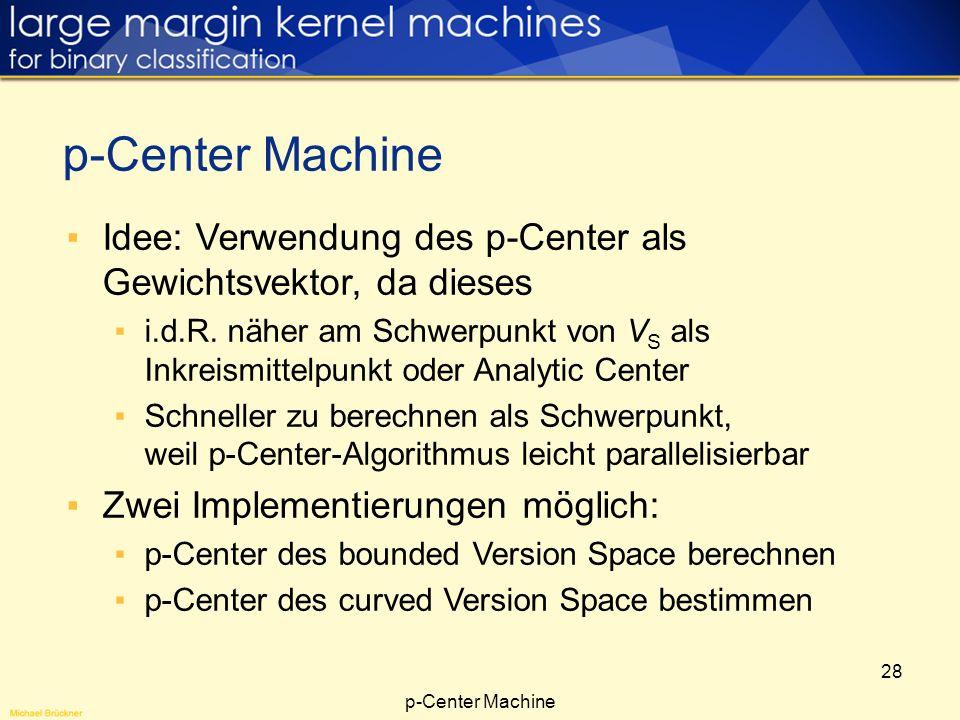 p-Center Machine Idee: Verwendung des p-Center als Gewichtsvektor, da dieses.
