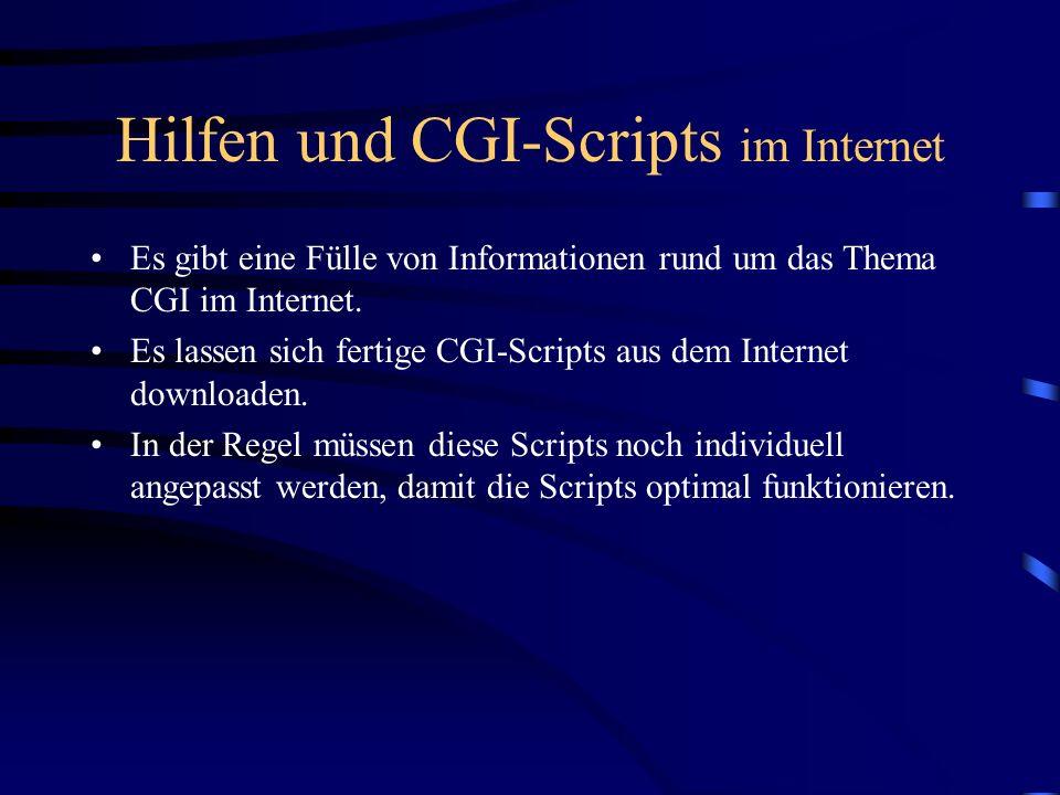 Hilfen und CGI-Scripts im Internet