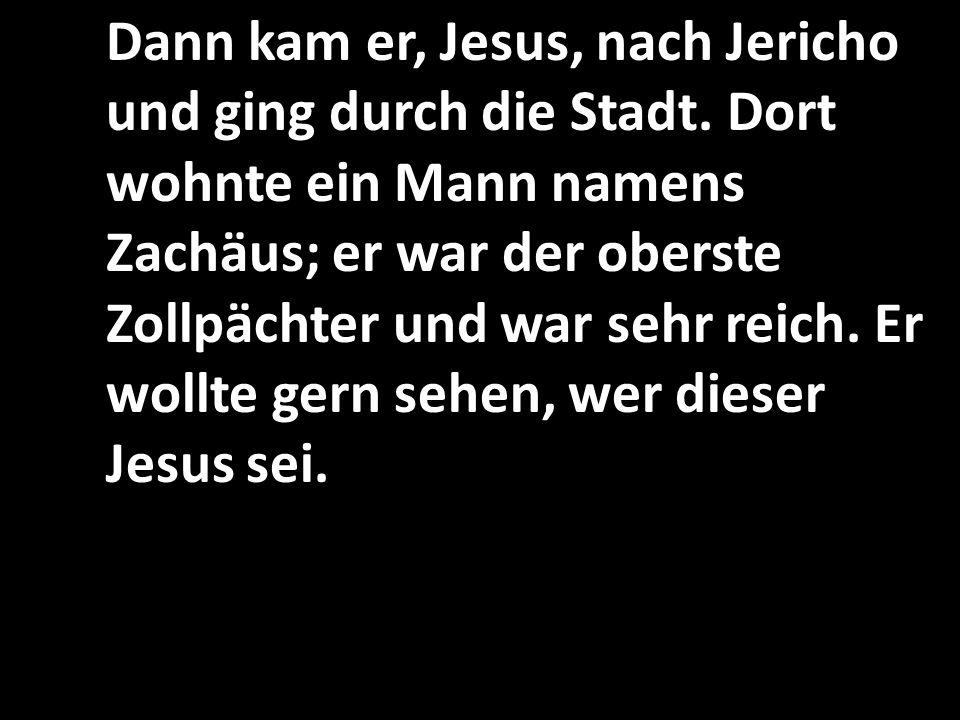 Dann kam er, Jesus, nach Jericho und ging durch die Stadt