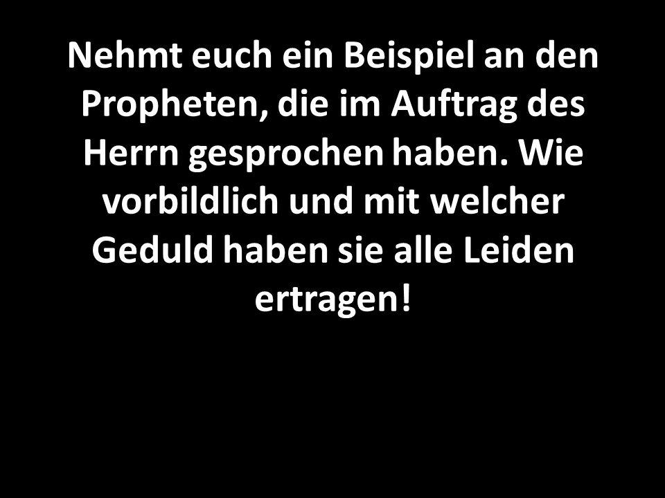 Nehmt euch ein Beispiel an den Propheten, die im Auftrag des Herrn gesprochen haben.