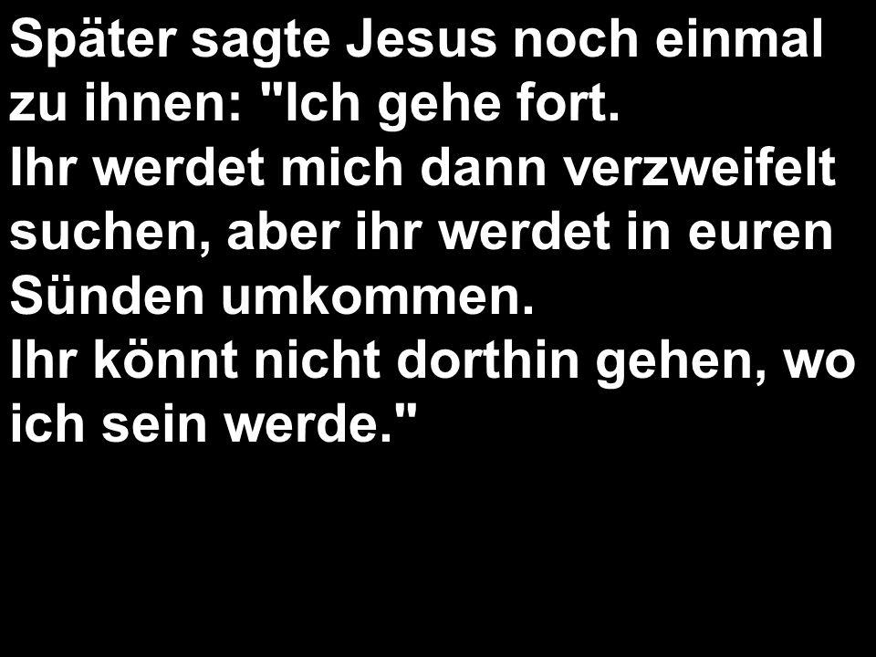 Später sagte Jesus noch einmal zu ihnen: Ich gehe fort.