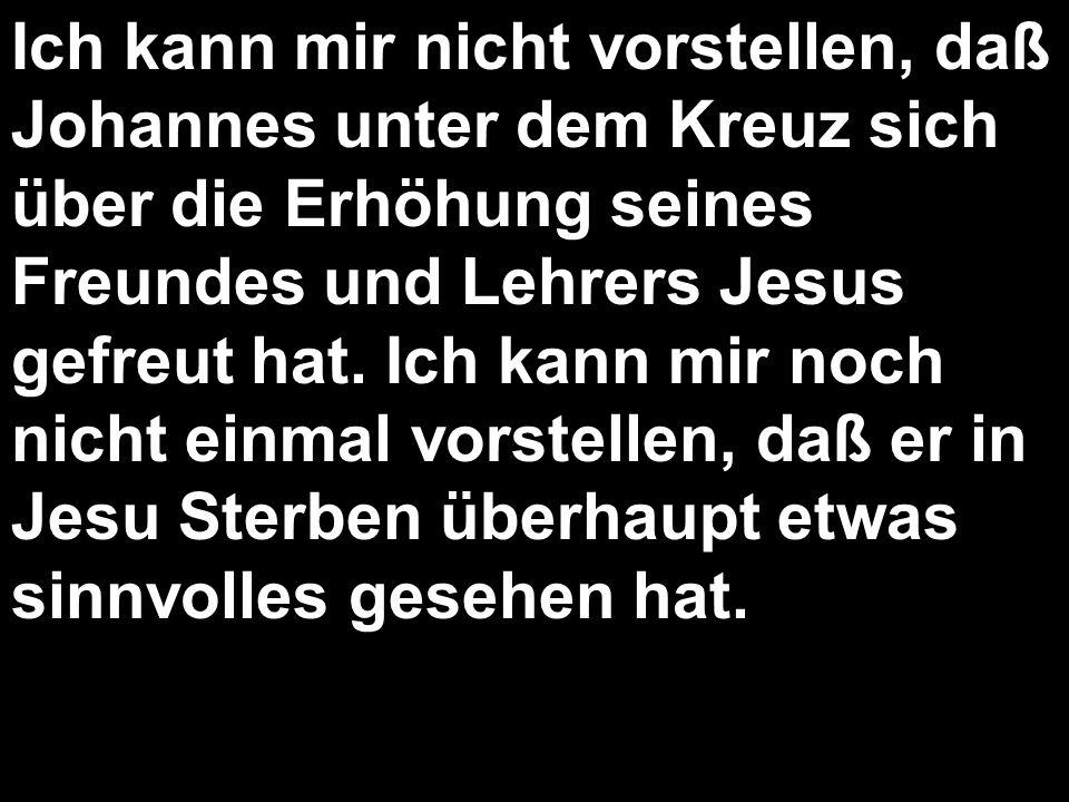 Ich kann mir nicht vorstellen, daß Johannes unter dem Kreuz sich über die Erhöhung seines Freundes und Lehrers Jesus gefreut hat.