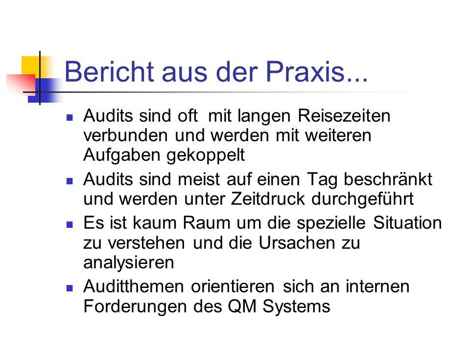 Bericht aus der Praxis... Audits sind oft mit langen Reisezeiten verbunden und werden mit weiteren Aufgaben gekoppelt.