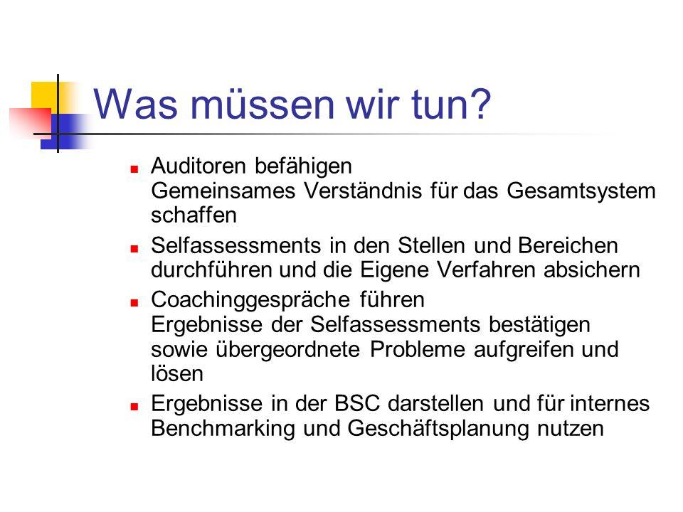 Was müssen wir tun Auditoren befähigen Gemeinsames Verständnis für das Gesamtsystem schaffen.