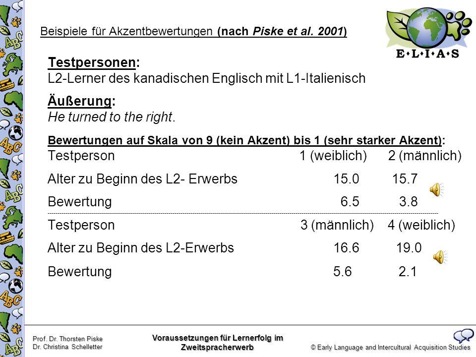Beispiele für Akzentbewertungen (nach Piske et al. 2001)