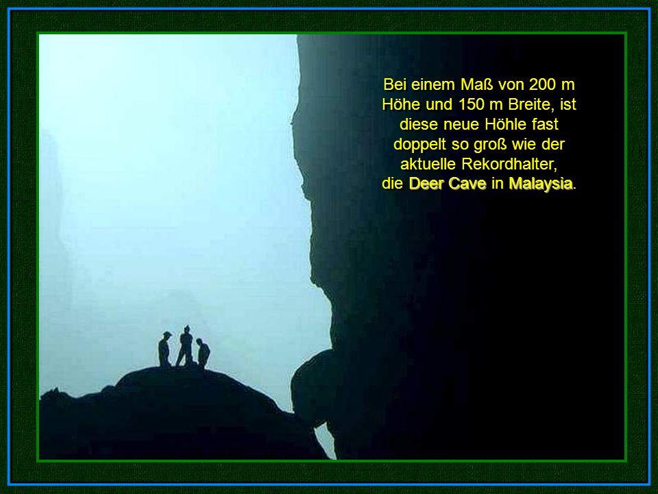 Bei einem Maß von 200 m Höhe und 150 m Breite, ist diese neue Höhle fast doppelt so groß wie der aktuelle Rekordhalter, die Deer Cave in Malaysia.