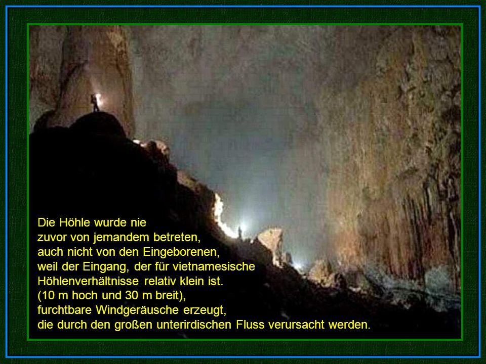 Die Höhle wurde nie zuvor von jemandem betreten, auch nicht von den Eingeborenen, weil der Eingang, der für vietnamesische Höhlenverhältnisse relativ klein ist. (10 m hoch und 30 m breit),