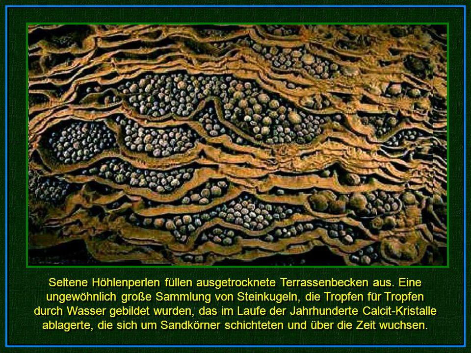 Seltene Höhlenperlen füllen ausgetrocknete Terrassenbecken aus