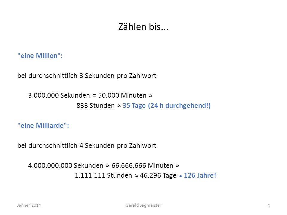 Zählen bis... eine Million :