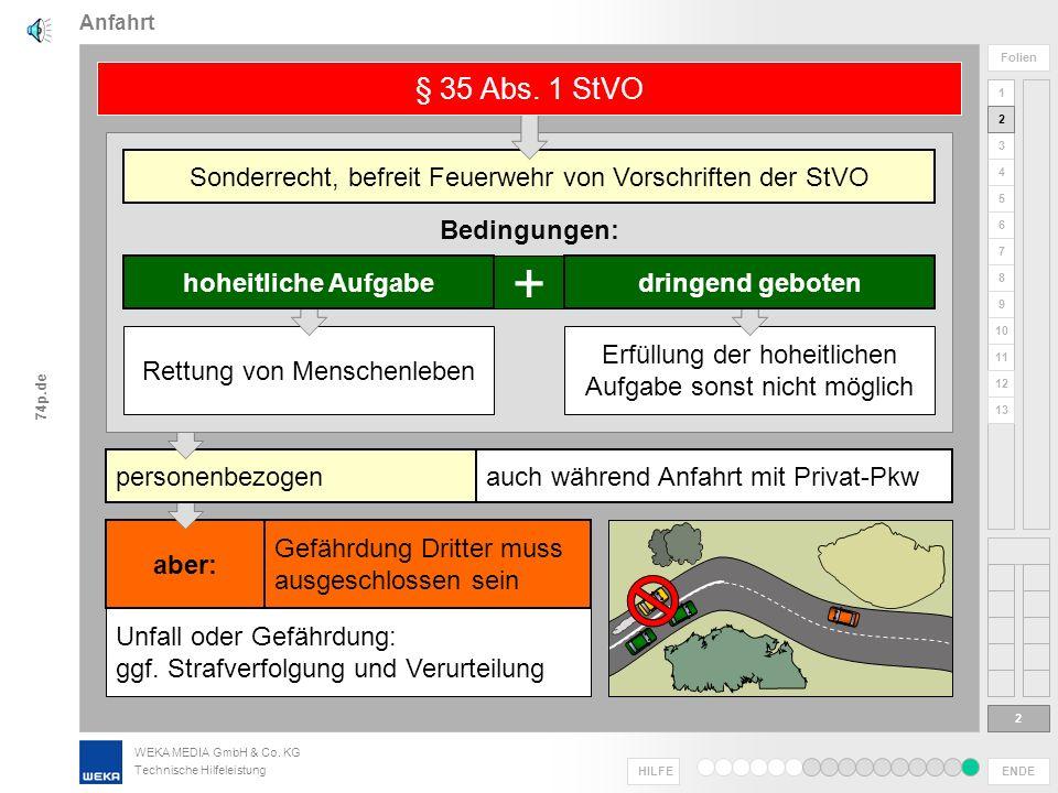 Anfahrt § 35 Abs. 1 StVO. 2. Sonderrecht, befreit Feuerwehr von Vorschriften der StVO. Bedingungen: