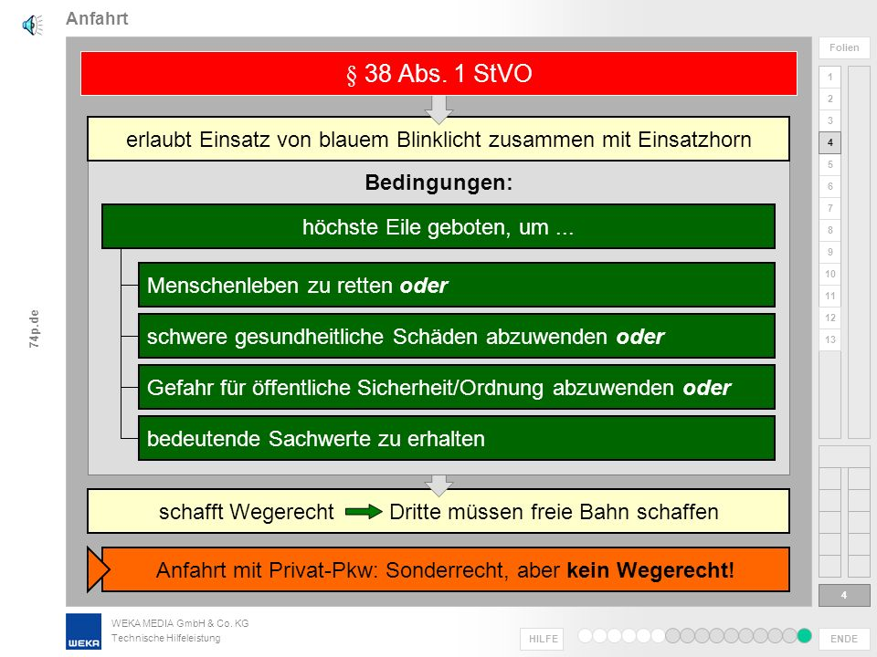 Anfahrt § 38 Abs. 1 StVO. erlaubt Einsatz von blauem Blinklicht zusammen mit Einsatzhorn. 4. Bedingungen: