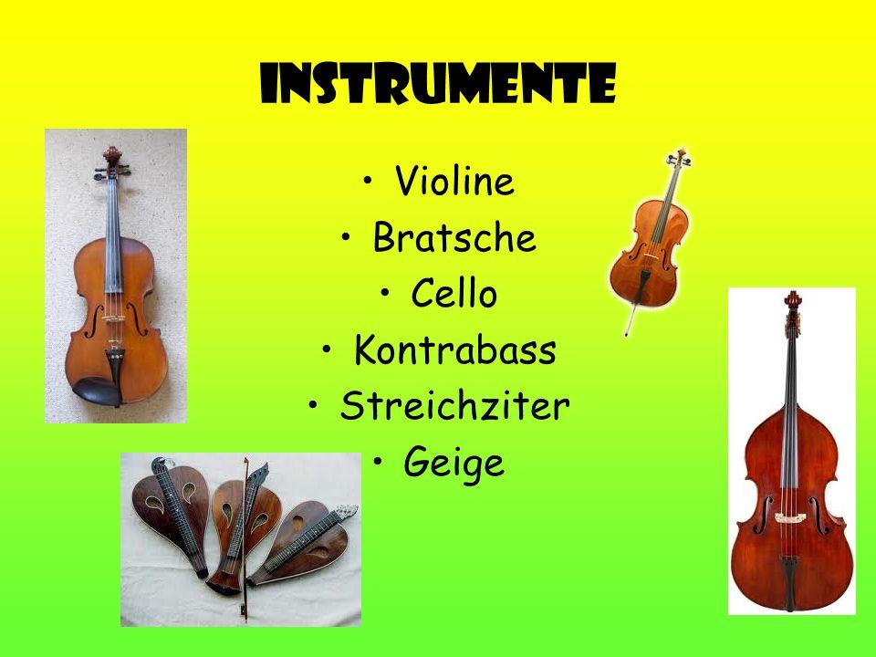 Instrumente Violine Bratsche Cello Kontrabass Streichziter Geige