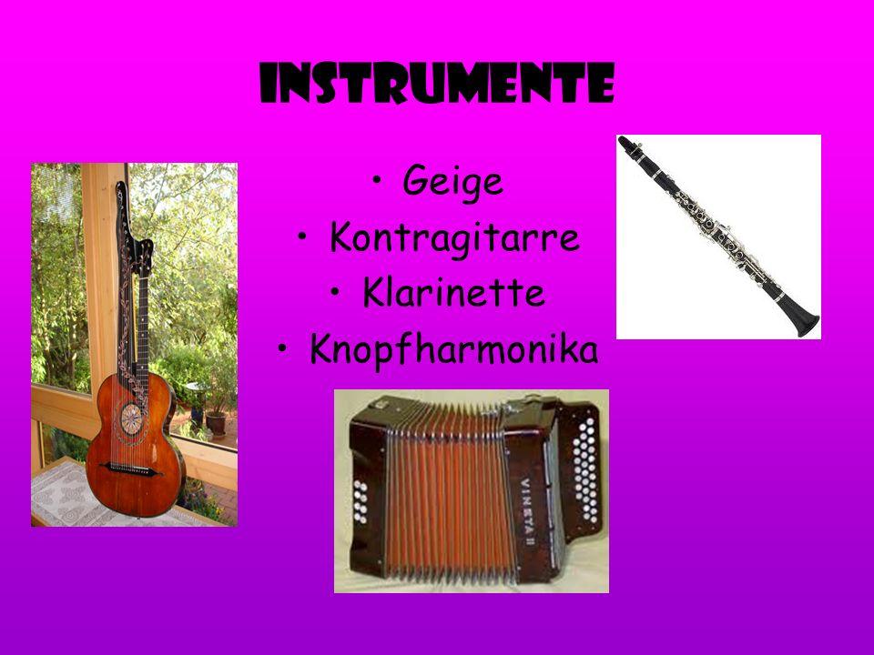 Instrumente Geige Kontragitarre Klarinette Knopfharmonika
