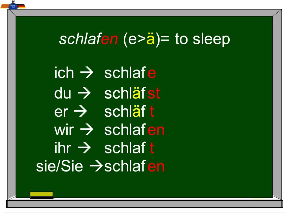 schlafen (e>ä)= to sleep