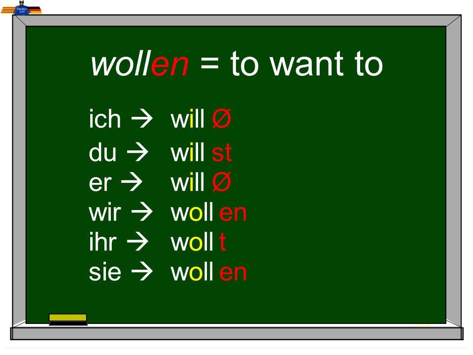 wollen = to want to ich  will Ø du  will st er  will Ø wir  woll