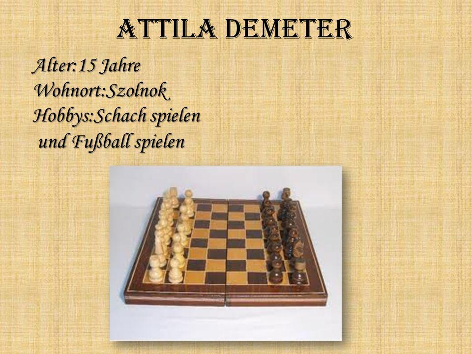 Attila Demeter Alter:15 Jahre Wohnort:Szolnok Hobbys:Schach spielen und Fußball spielen